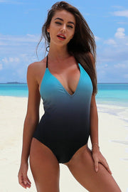 Color Gradient Backless One Piece Swimsuit - Pavacat