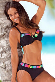 Colorful Border Push Up Bikini Set - Pavacat