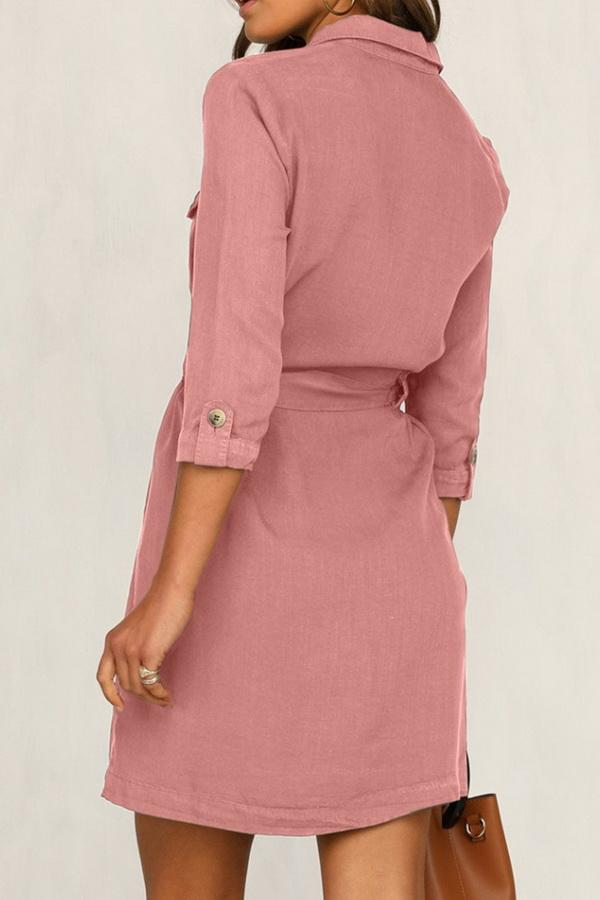 Cropped Sleeve Single-breasted Pocket Dress - Pavacat