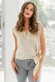 Deep V Chiffon Sleeveless Blouse - Pavacat