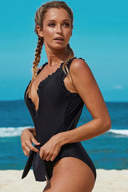 Deep V Ruffle Belt One Piece Swimsuit - Pavacat