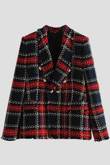 Double Breasted Frayed Checked Tweed Blazer - Pavacat