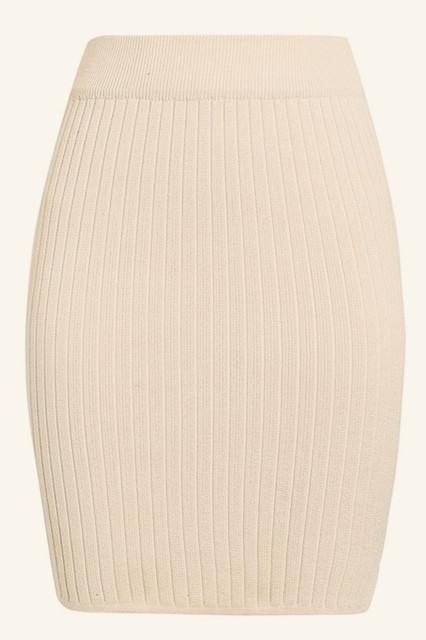 Elastic Band Knitted Ribbed Straight Skirt - Pavacat