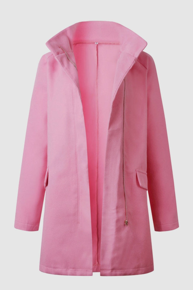Elegant Double Pockets Zipper Coat - Pavacat