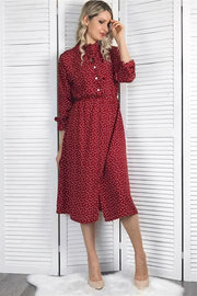 Elegant Flare Sleeve Collar Polka Dot Dress - Pavacat