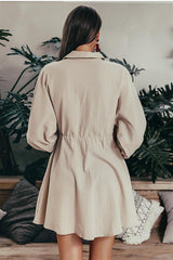 Elegant Linen Lantern Sleeve Shirt Dress - Pavacat