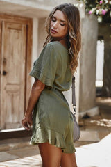 Elegant Short Sleeve High Waist Romper - Pavacat