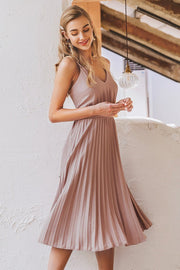 Elegant Spaghetti Strap Pleated Dress - Pavacat
