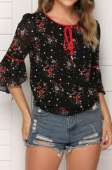 Floral Flared Sleeves Loose Chiffon Blouse - Pavacat