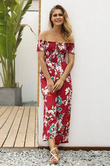 Floral Off Shoulder Smocked Jumpsuit - Pavacat