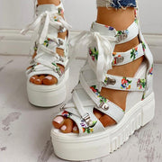 Floral Tape Leisure Wedges Sandals - Pavacat