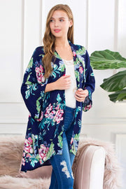 Floral Three Quarter Length Sleeve Cardigan - Pavacat