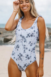 Flower Print Scoop Back One Piece Swimsuit - Pavacat