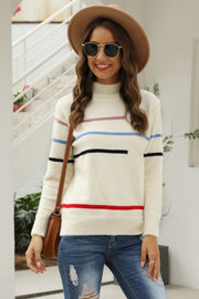 Fluffy Stripe High Neck Loose Sweater - Pavacat