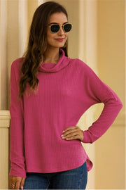 Fold Collar Solid Color Knitted Pullover - Pavacat