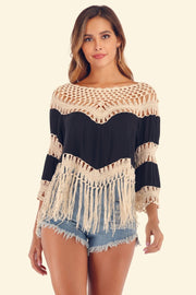 Fringe Irregular Hollow Beach Blouse - Pavacat