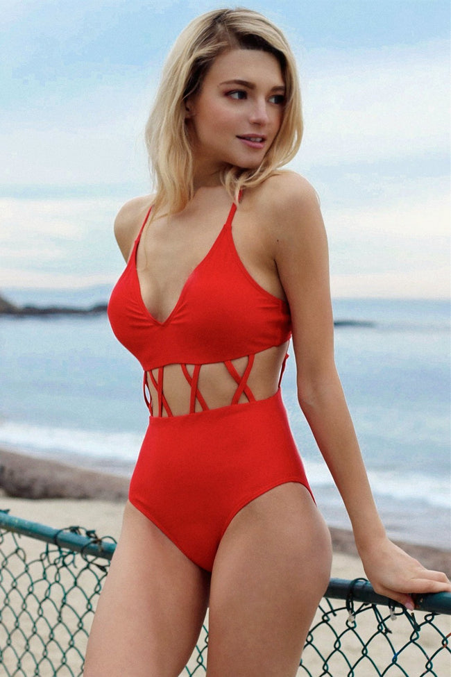 Fun And Sun Red One Piece Swimsuit - Pavacat