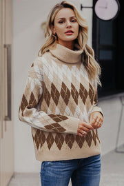 Geometrical Turtle Neck Thick Pullover - Pavacat