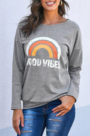 Good Vibes Elbow Patch Sweatshirt - Pavacat