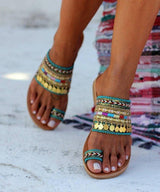 Handmade Sandals Tassel Flat Holiday Sandals With Beading - Pavacat