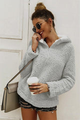 High Neck Zip Plush Sweatshirt - Pavacat
