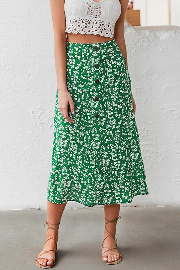 High waist Buttons Floral A-line Skirt - Pavacat