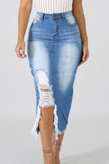 High Waist Ripped Destroyed Denim Skirt - Pavacat