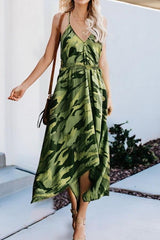 Irregular Printed Camouflage Strap Dress - Pavacat