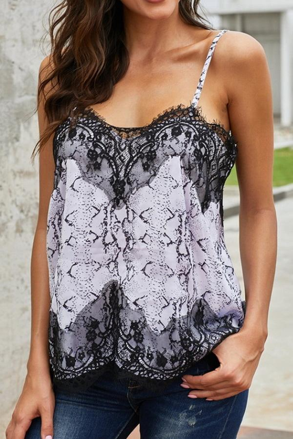Lace Print Stitching Sling Top - Pavacat