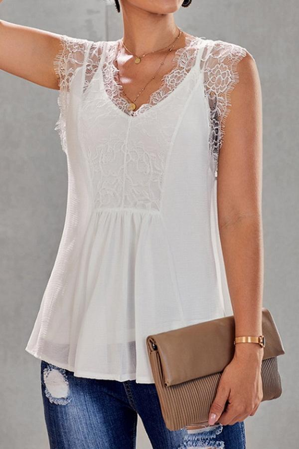 Lace Stitching V-neck Loose Blouse - Pavacat