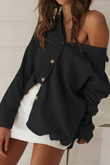 Lapel Long Sleeved Loose Shirt - Pavacat