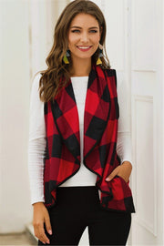 Lapel Plaid Irregular Cardigan Vest - Pavacat