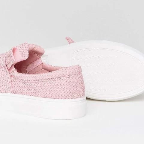 Large Size Knitted Twist Pink Slip On Sneakers - Pavacat