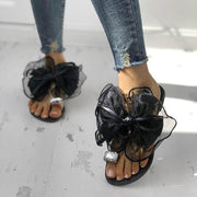 Large Size Summer Rhinestone Lace Organza Bow Knot Flat Slippers - Pavacat