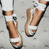 Leather Wedge Sandals Casual Lace Up Shoes - Pavacat