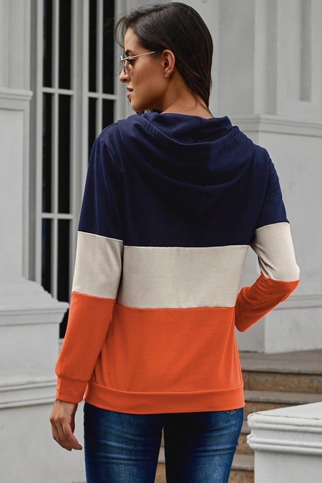 Leisure Color Block Pockets Hoodie - Pavacat