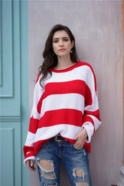 Leisutr Striped Round Neck Sweater - Pavacat