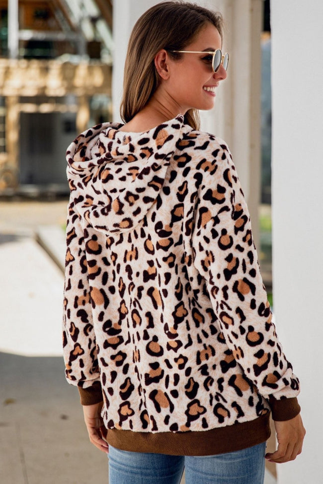 Leopard Front Pocket Drawstring Hoodie - Pavacat