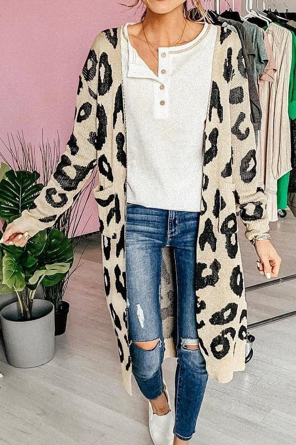 Leopard Print Long Sweater Coat - Pavacat