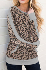 Leopard Print T-shirt With Long Sleeves - Pavacat