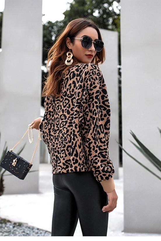Leopard Round Neck Loose Sweater - Pavacat