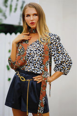 Leopard Three Quarter Length Sleeve Blouse - Pavacat