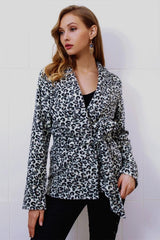 Leopard Turn-down Collar Belt Coat - Pavacat
