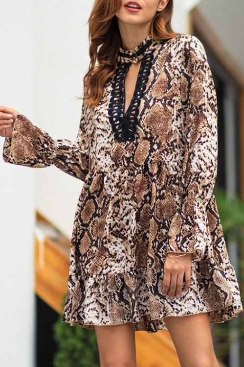 Leopard V Neck Long Sleeve Dress - Pavacat