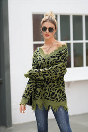 Leopard V Neck Loose Sweater - Pavacat