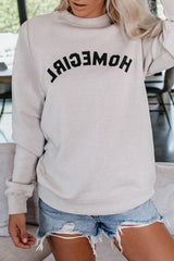 Letters Round Neck Loose Sweatshirt - Pavacat