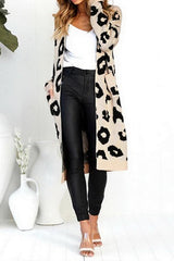 Long Leopard Print Knit Sweater - Pavacat