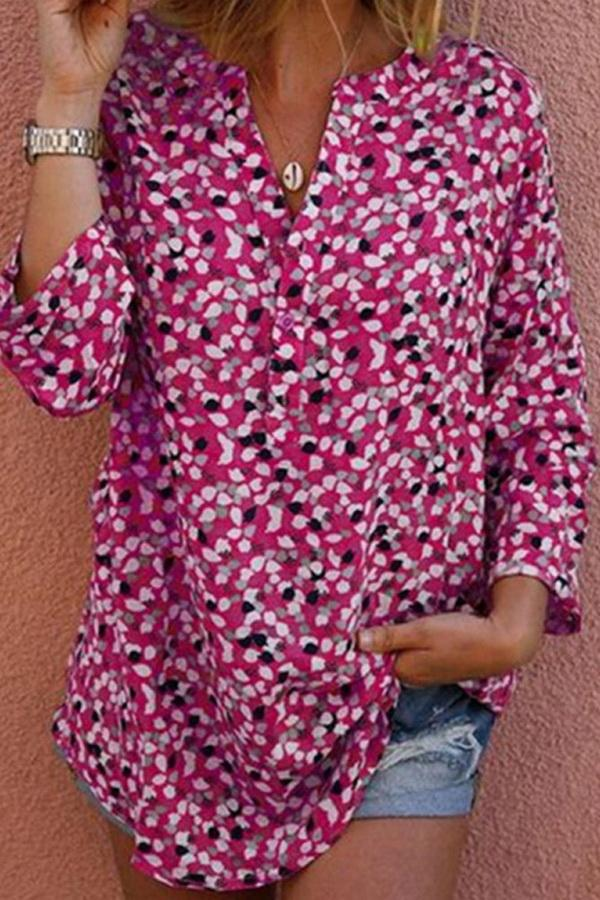 Long Sleeve Printed Casual Button Shirt - Pavacat