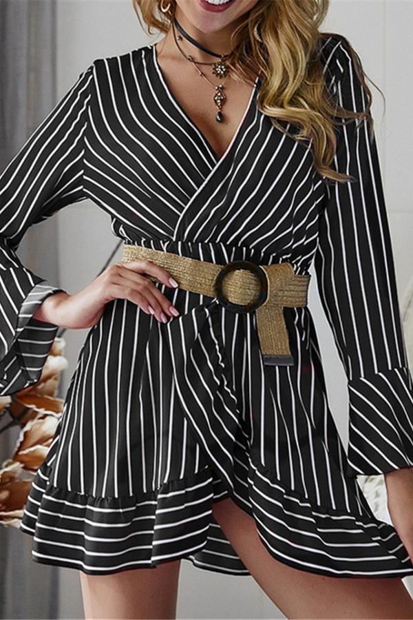 Long Sleeve Striped Mini Dress - Pavacat