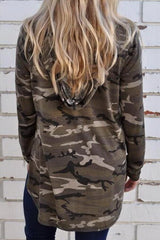 Long-sleeved Camouflage Printed Hooded Loose Top - Pavacat